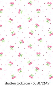 Cherry pattern. Cherry with leaves. Vector illustration