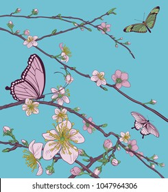 Cherry or peach blossom tree flowers with butterflies. Abstract background pattern Japanese or Chinese style spring floral fashion design.