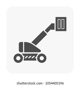 Cherry picker icon. Also call straight boom lift or telescopic boom lift. Cherry picker is a platform for lifting someone to work at a high level such as maintenance and construction, Vector icon desi