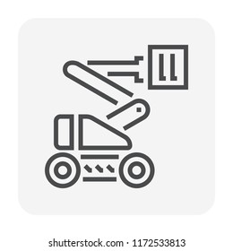 Cherry picker icon. Also call straight boom lift or telescopic boom lift. Cherry picker is a platform for lifting someone to work at a high level such as maintenance and construction, 64x64 pixel icon