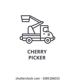 cherry picker vector line icon, sign, illustration on background, editable strokes