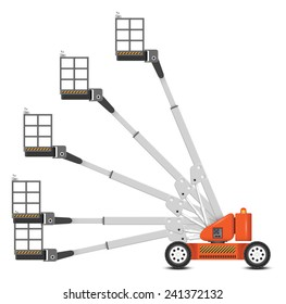 Cherry picker vector. Separate layer of angle to use. Also call straight boom lift or telescopic boom lift. Platform for lifting someone to work at high level such as maintenance, construction.