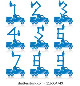 Cherry pickers with numbers made from the boom configurations.
