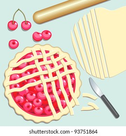 Cherry Pie. Elevated view of preparation