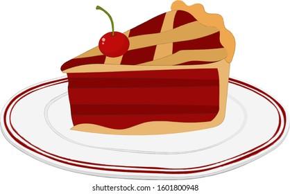Cherry Pie Slice Illustration On Plate Red Delicious Food Dessert Vector Art