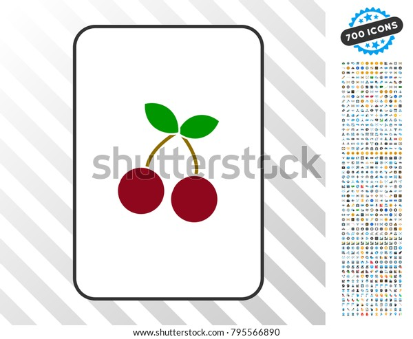 Cherry Playing Card Pictogram 700 Bonus Stock Vector Royalty Free 795566890