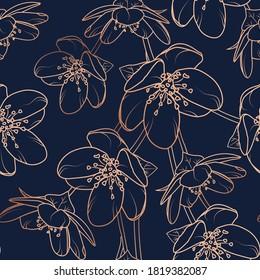 Cherry, sakura flowers bloom blossom seamless pattern texture. Copper gold shiny glow outline. Navy dark blue background.