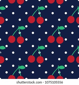 Cherry seamless pattern with dots, vector for modern t shirt print, embroidery patch and printing. Fashion graphic tee and printed tee. For boy girl fabric hand drawn background design