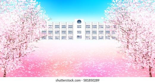 Cherry spring school background