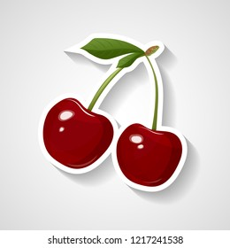 Cherry sticker vector illustration. Cartoon sticker with white contour in comics style. Decoration for patches, emblems, prints for clothes, cards, posters.