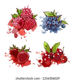 Cherry, strawberry, blueberry and raspberry on watercolor splashes and spots. vector hand drawn illustration in marcer copic sketch style isolated on white background