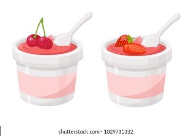cherry, strawberry, yogurt