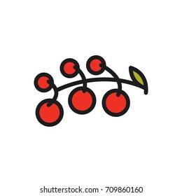 Cherry tomatoes. Vector icon