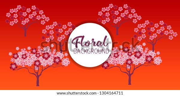 Cherry Tree Blossom Floral Background Concept Stock Vector (Royalty