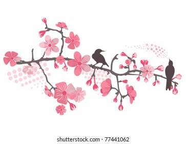 фотообои Cherry tree with flower and birds