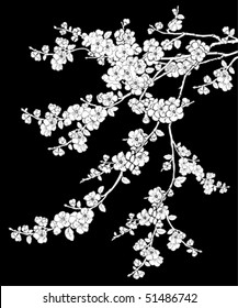 Cherry tree on black background