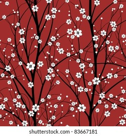 cherry tree seamless pattern