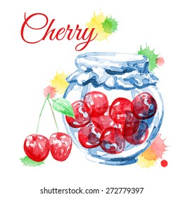 Cherry. Vector watercolor. Isolated. Food background.