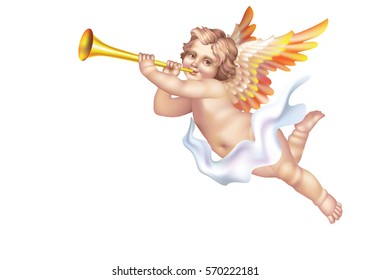 Cherub Blowing into a tube on a white background on the right