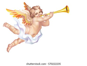 Cherub Blowing into a tube on a white background the left