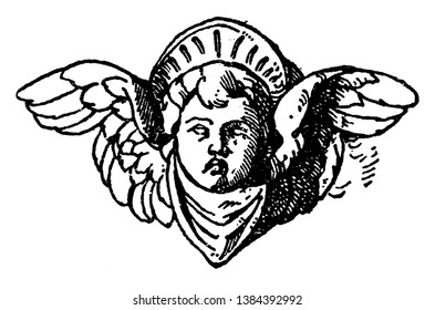 Cherub Head was used on a candelabrum in Certosa near Pavia, vintage line drawing or engraving illustration.