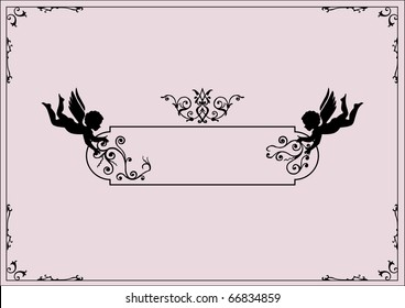 cherubs and scrolls design elements