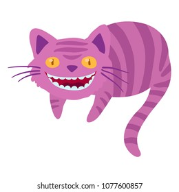 Cheshire cat from Alice in Wonderland. Cartoon clip art illustration on white background.