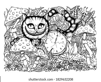 Cheshire cat, Alice in Wonderland coloring book for adults, files for download and print, coloring pages as a gift