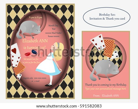 Cheshire cat Birthday Invitation