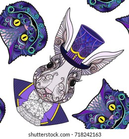 Cheshire cat and Hare or rabbit in the hat from the fairy tale