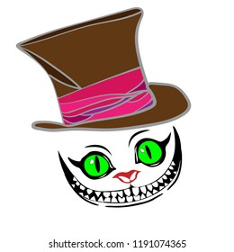 Cheshire cat with hat, color pattern
