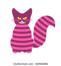 Cheshire Cat. Magic animal with long tail. Striped Fairy tale of beast