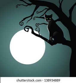 Cheshire cat in the moonlight. EPS 10 vector, grouped for easy editing. No opne shapes or paths.