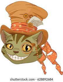 Cheshire cat in Top Hat and monocle in steampunk stile