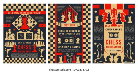 Chess academy game tournament, checkmate strategy sport championship posters. Vector chess club cup for beginners and professional players, chessboard pieces with game score clock and victory stars