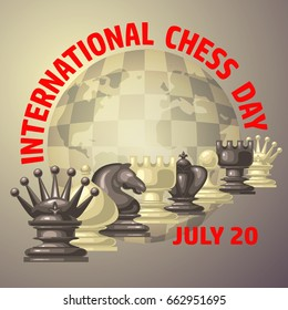 Chess background. International chess day card. July 20. Holiday congratulation poster.