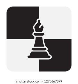 Chess Bishop Pieces isolated on white background. Chessboard Bishop Silhouettes Vector Illustration.