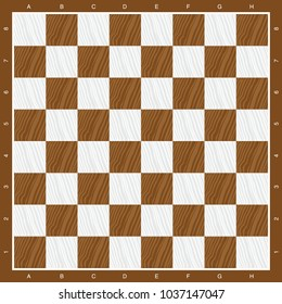 chess board in brown and white wood illustration