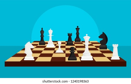 Chess board game concept background. Flat illustration of chess board game vector concept background for web design