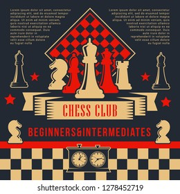 Chess board game sport club poster with vector pieces and chessboard. Knight, rook and pawn, queen, bishop and king with clock on board. Chess tournament or competition event design