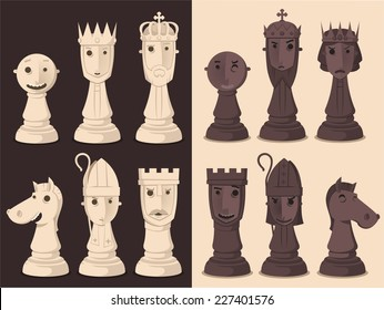 Chess Board Game Strategy, vector illustration cartoon.