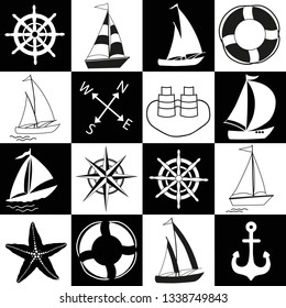 Chess board seamless marine pattern. Black and white squares with nautical elements