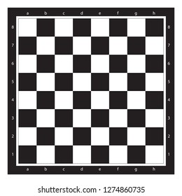 Chess Board Top View With Algebraic Notation Vector Illustration. Chessboard Black And White Tile.
