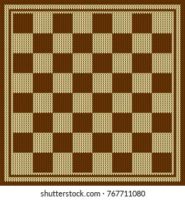 Chess board vector. Knitted chess board. Chess board background. Chess board illustration.