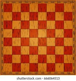 Chess board. Wooden texture. Vector illustration.