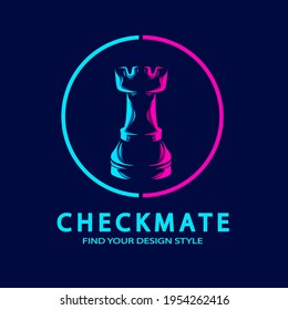Chess Castle Rook line pop art potrait logo colorful design with dark background. Abstract vector illustration. Isolated black background for t-shirt, poster, clothing, merch, apparel, badge design
