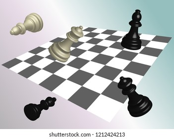 Chess and chessboard 3D banner