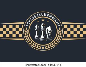Chess club emblem - vector illustration, logo design on a dark background