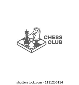 Chess club logo design template in linear style. Vector illustration.