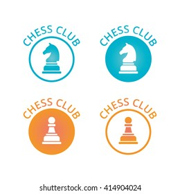 Chess club logo or emblem with black silhouette of horse figure bordered laurel wreath with date of foundation in two colors variations